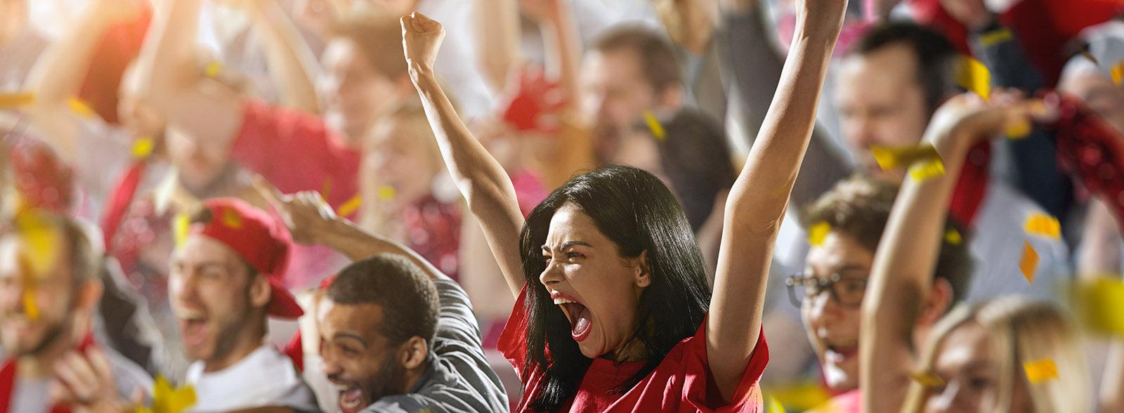 Sport fans: A girl shouting